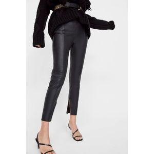 Zara Basic Black Faux Leather Leggings